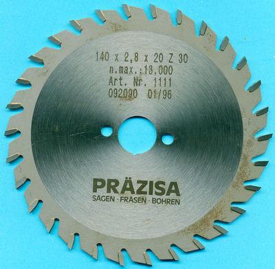 Kreissägeblatt Präzisa 190mm 2,8mm 1,8mm  20mm 30W  Sägeblatt Type w
